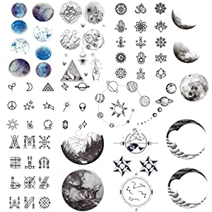 Konsait 78pcs/Lot Temporary Tattoos for Girls Women Adults, Waterproof Temporary Tattoo Fake Tattoos Body Art Sticker Hand Neck Wrist Cover Up Set, Cartoon Universe Star Moon Rocket Space Planets