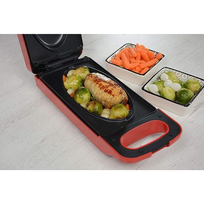 EXPRESS Cooker Multi de barbacoa con función Reversible 800 W rojo: Amazon.es: Hogar