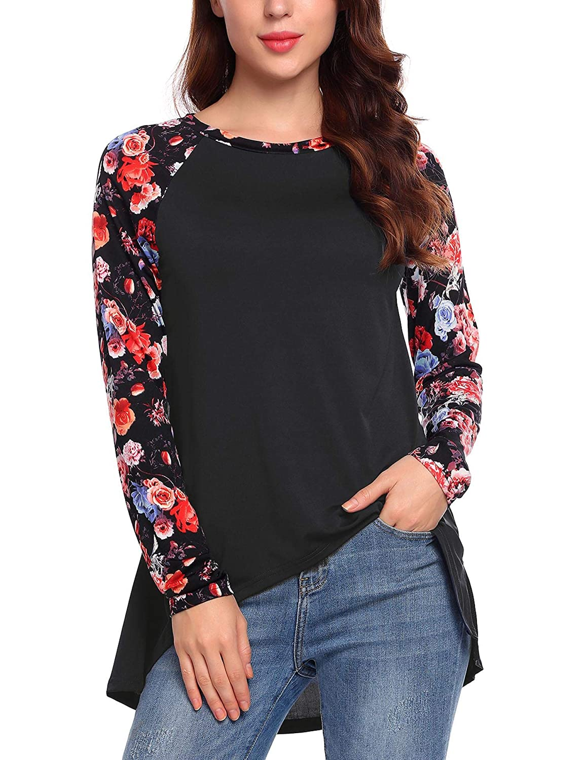 2a3439dd Feature: Floral patchwork, raglan sleeve, higw low hem, back keyhole, crew  neck, long sleeve, loose fitting cut. Casual and stylish shirt.