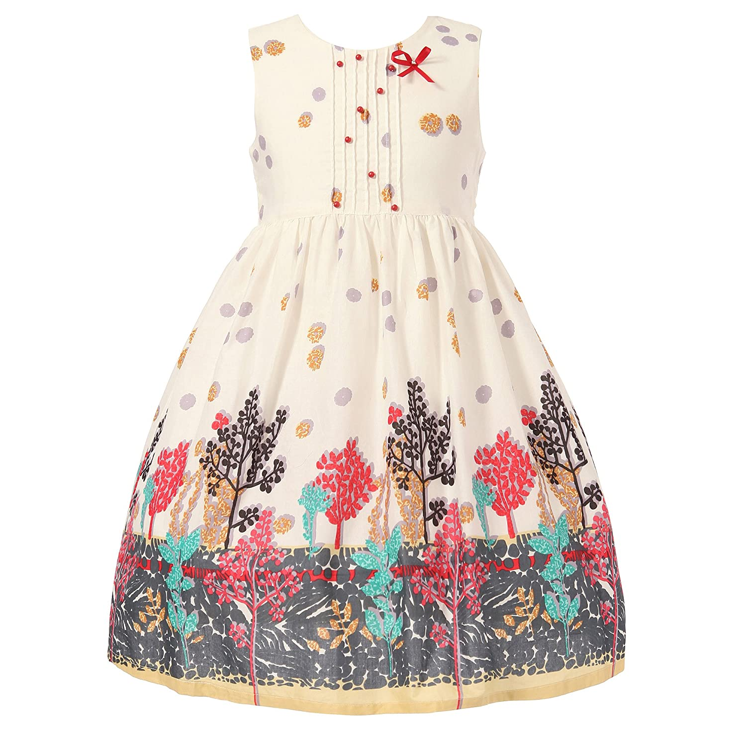 Richie House Girls' White Pleated Forest Printed Dress 2-10 RH0952 Richie House Girls' White Pleated Forest Printed Dress 2-10 RH0952
