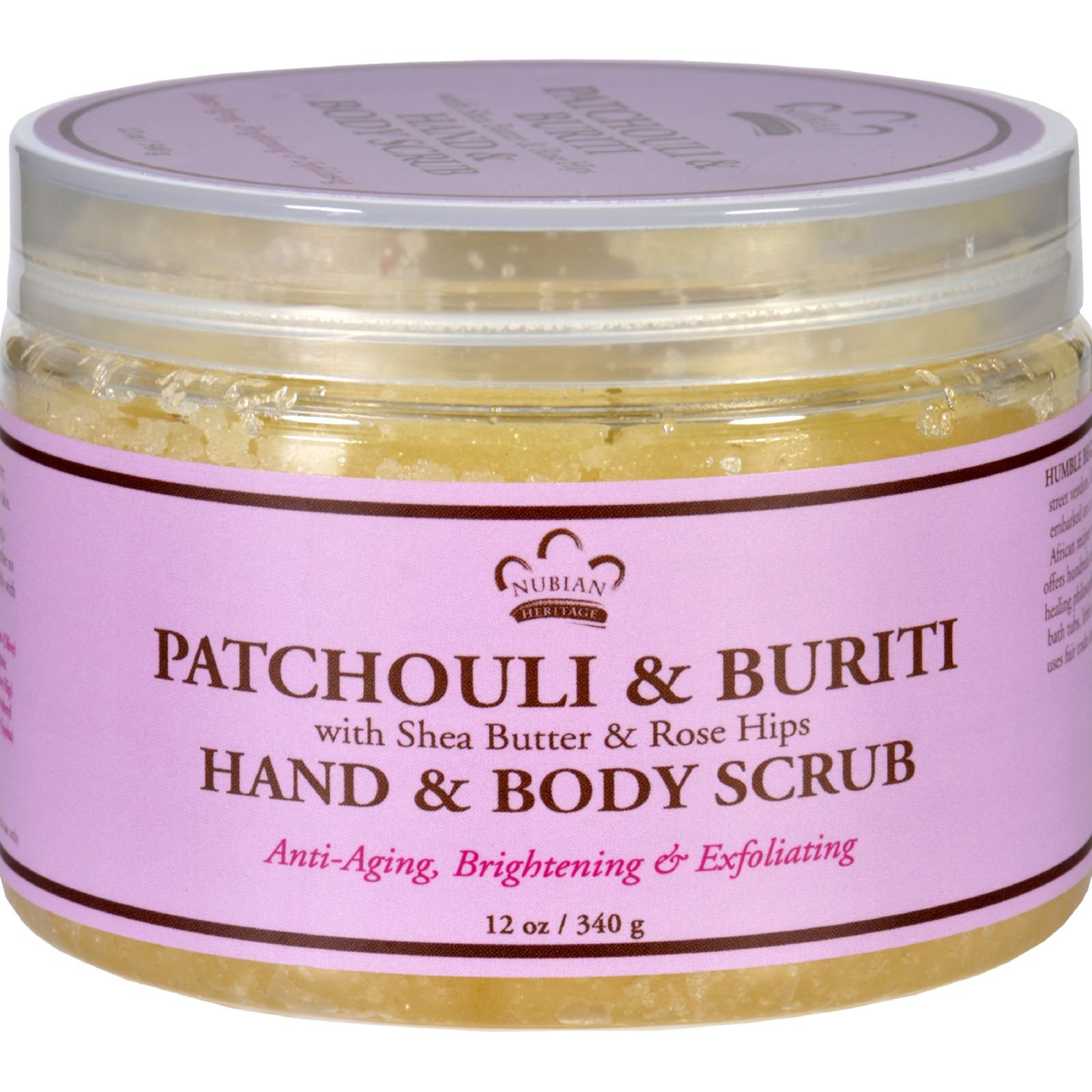 Nubian Heritage Hand and Body Scrub with Shea Butter and Rose Hips - Patchouli and Buriti - Anti Aging - 12 oz (Pack of 4)