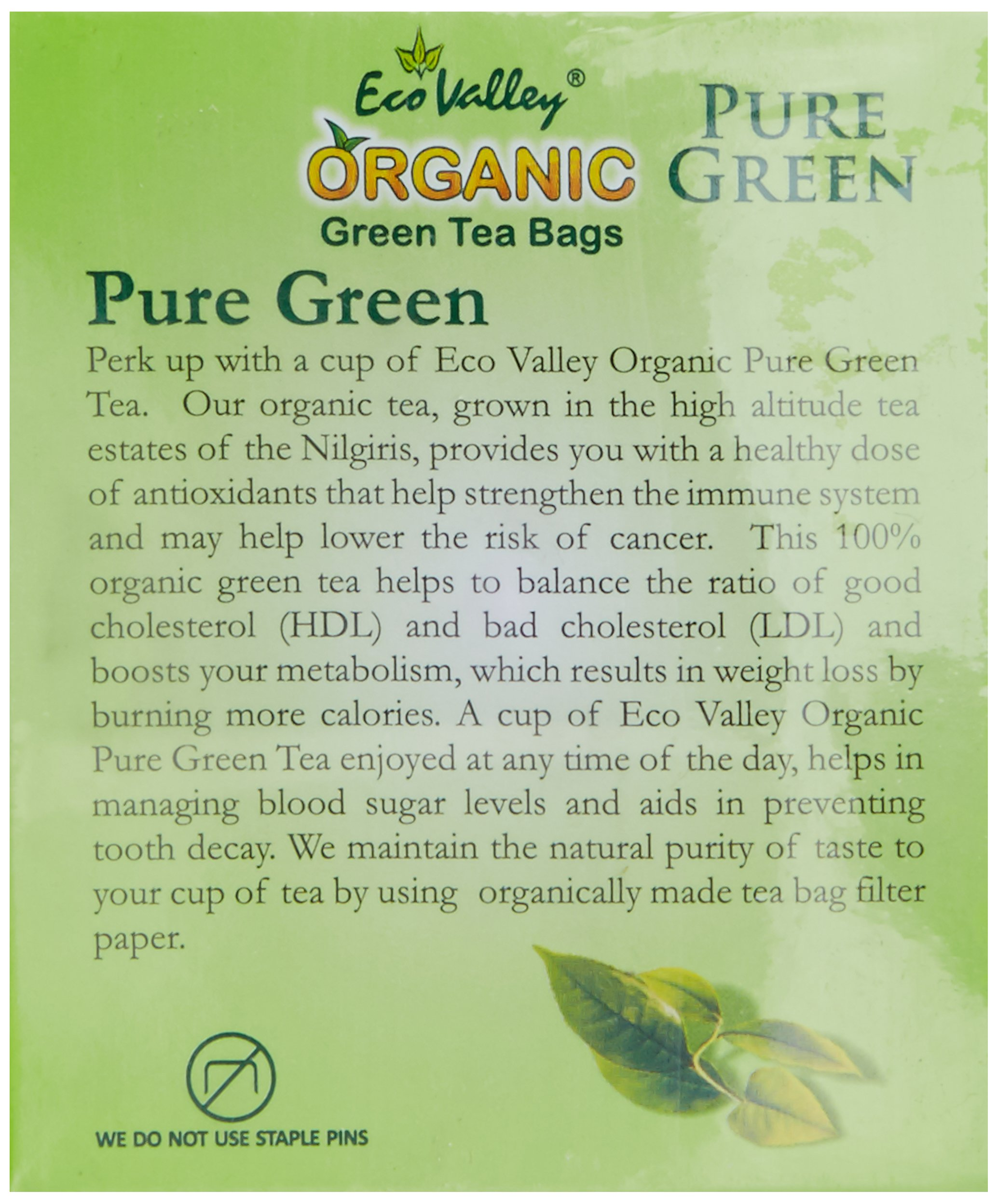 Eco Valley Organic Green Tea, Pure, 25 Tea Bags (Free 5 Tea Bags Inside) by Ecovalley (Tin) (Image #4)