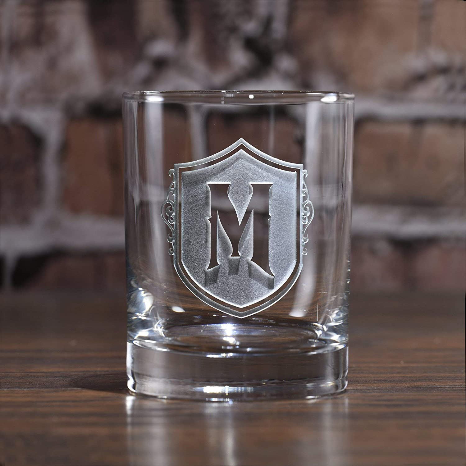 Monogrammed Initial on Whiskey, Scotch and Bourbon - One Glass (M22)