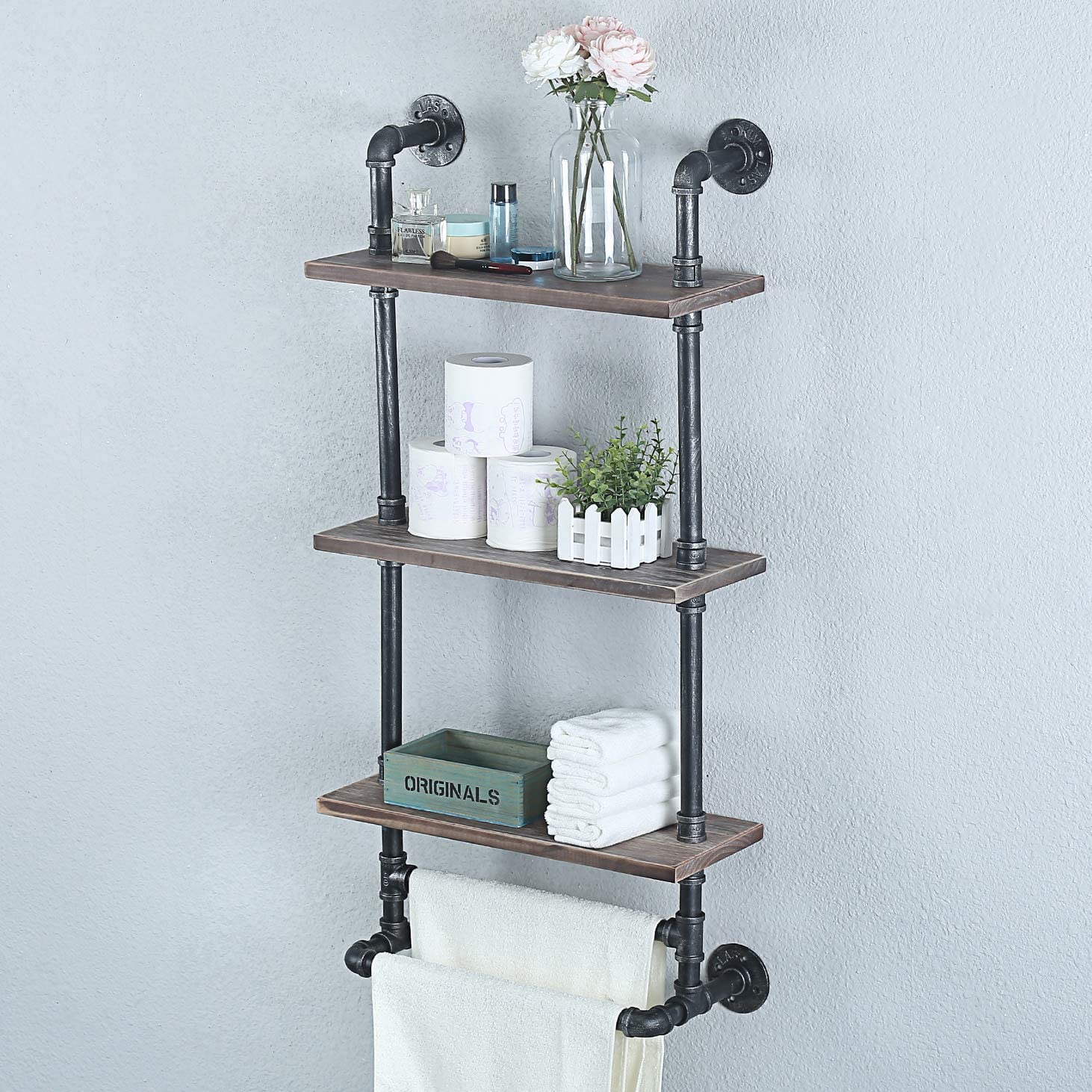 Womio Industrial Pipe Bathroom Shelves Wall Mounted,19.7in Rustic Wall Decor Farmhouse,3 Tier Towel Rack with 2 Towel Bar,Metal Floating Shelves Towel Holder,Wall Shelf Over Toilet