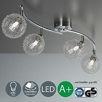 Lámpara de techo I Bolas de cristal I Foco LED para techo I Incluye 4 bombillas ...