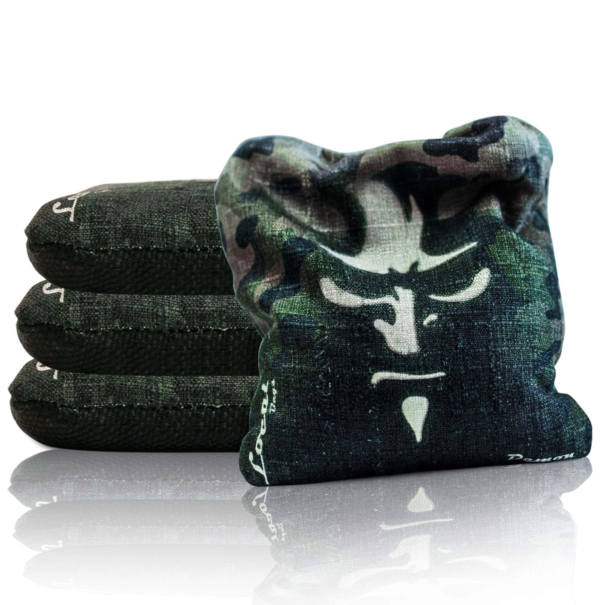 Local Bags Cornhole - Demon Series - Set of 4 Bags- ACL Approved Resin Filled - Double Sided - Slow Side/Go Side Made in USA (Camo) by Local Bags