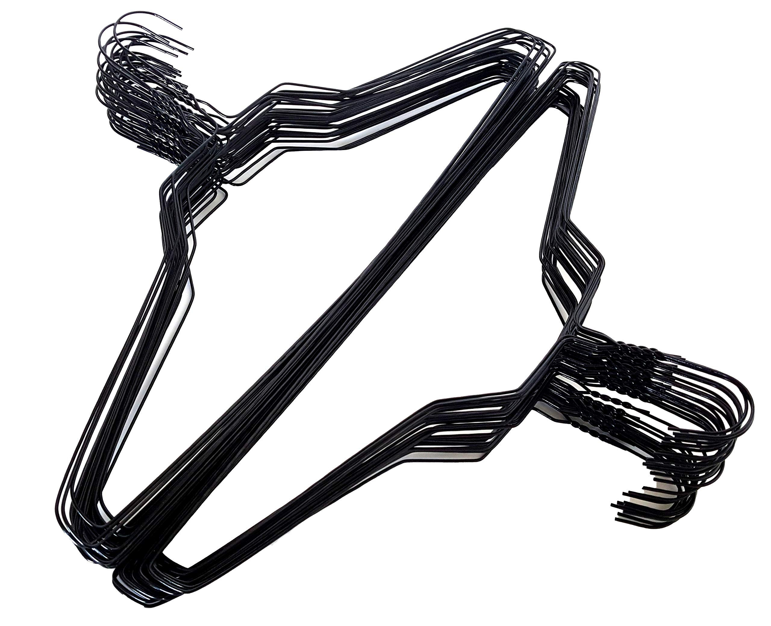 200 Black Wire Hangers 18'' Standard Clothes Hangers (200, Black) by Homeneeds Inc