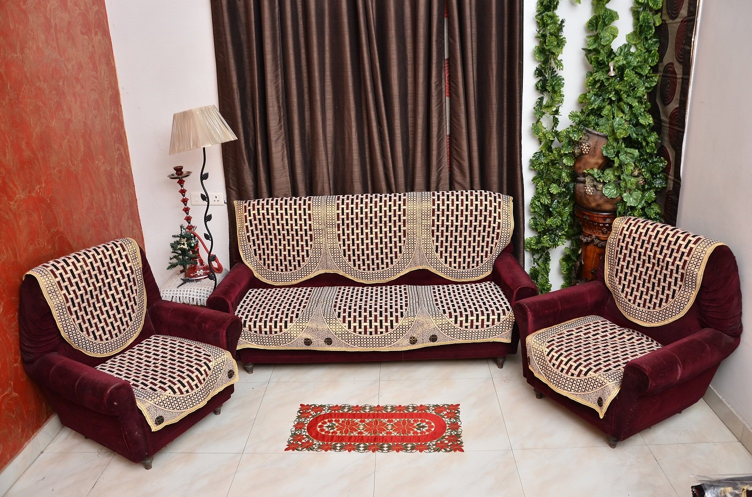 Buy Rshp 5 Seater Maroon Coffee Cotton Sofa Cover line at Low