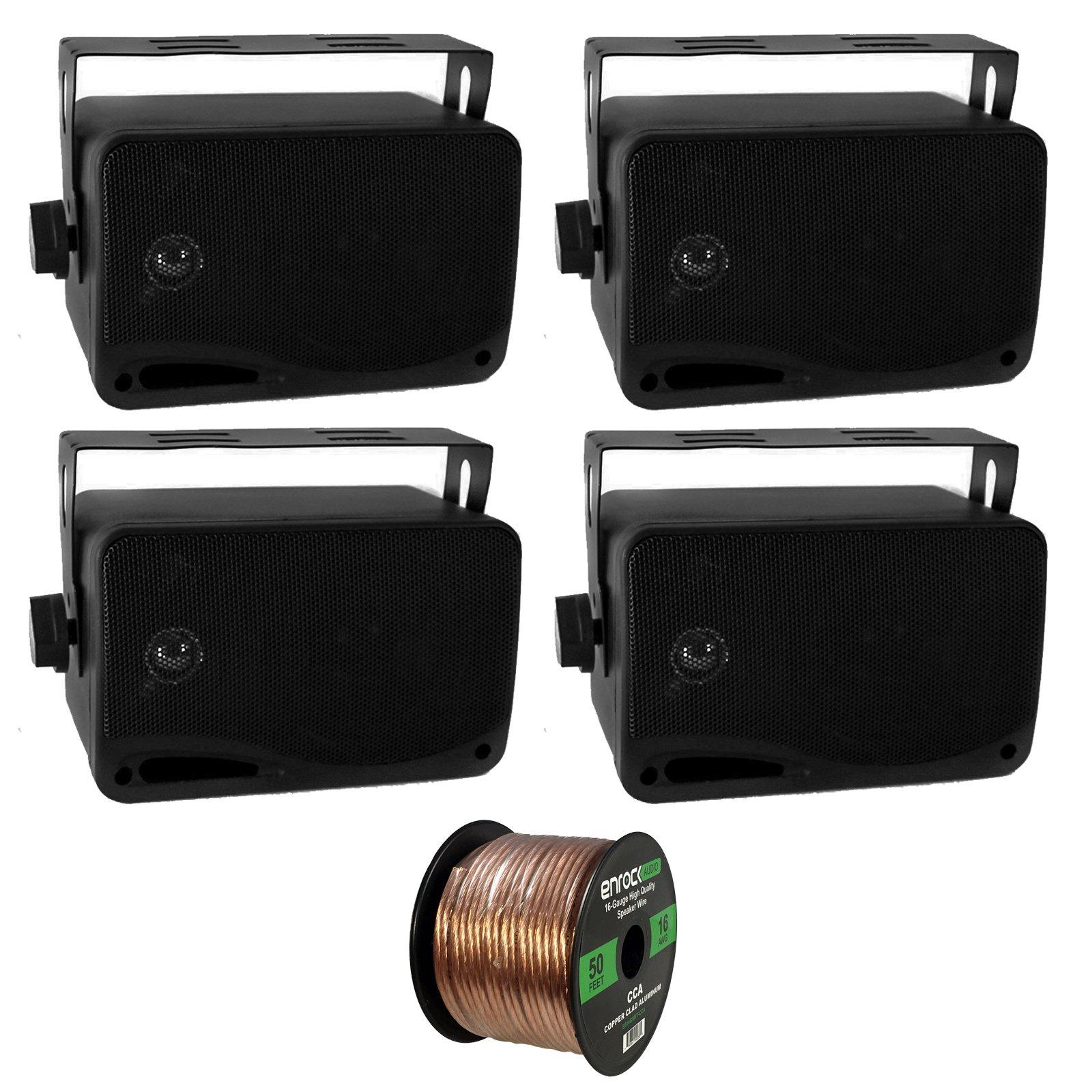 4 x New Pyle PLMR24 3.5'' 200 Watt 3-Way Weather Proof Marine Mini Box Speaker System (Black), and Enrock Audio 16-Gauge 50 Foot Speaker Wire