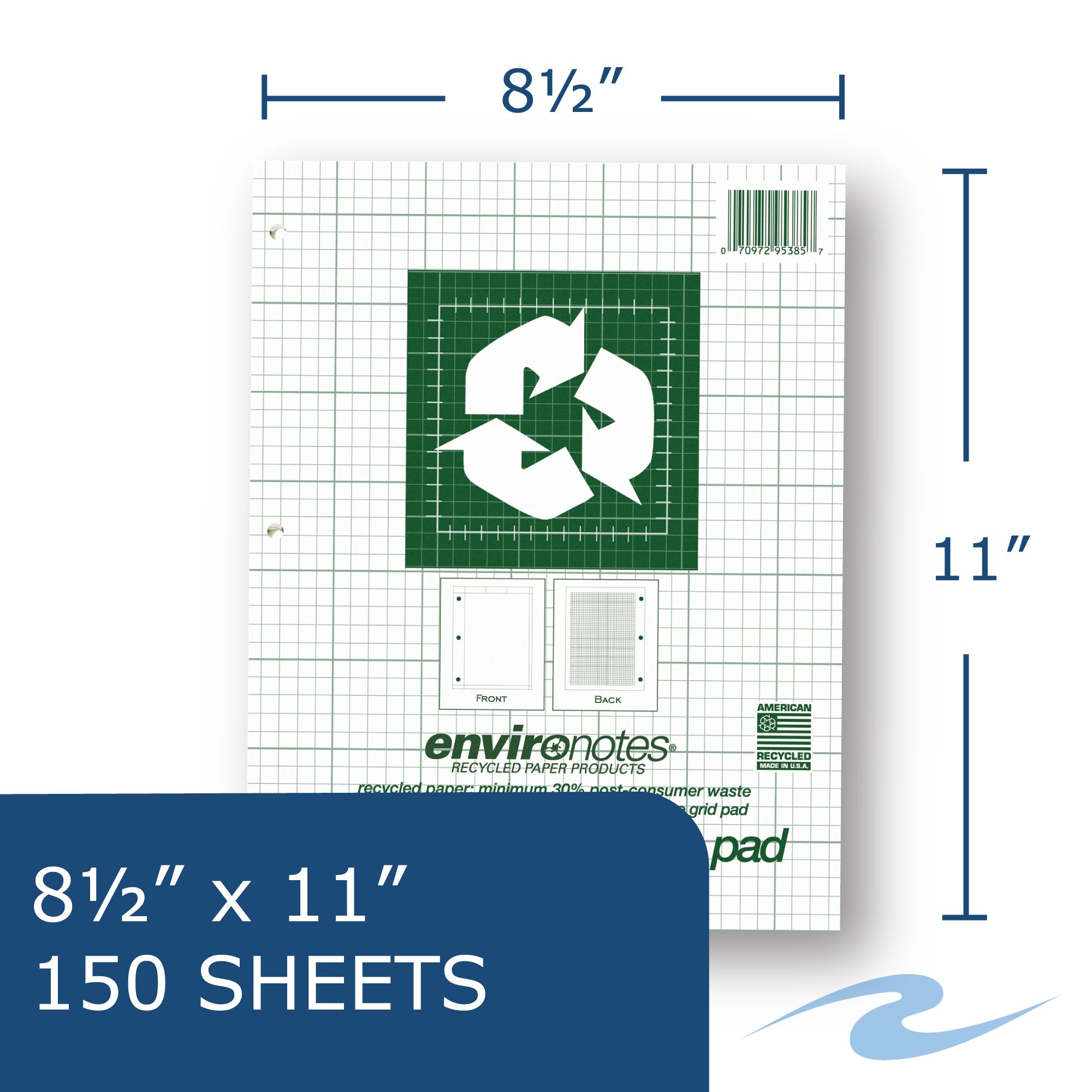 Case of 24 Engineer Pads, 8.5''x11'', 150 sheets of 16# Recycled Green Paper, 5x5 printed Grid, 3-Hole Punched, Extra Heavy Backing by Roaring Spring (Image #3)
