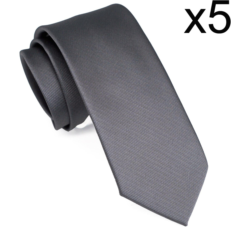 Skinny Solid Color Neckties Wedding Ties for Groomsmen 5 Pack ST518