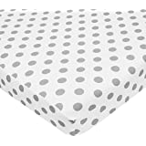American Baby Company 100% Cotton Percale Fitted Portable/Mini-Crib Sheet, White with Gray Dot