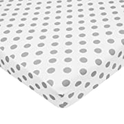 American Baby Company Fitted Portable/Mini Crib Sheet, 100% Natural Cotton Percale, White with Gray Dot, Soft Breathable, for Boys and Girls