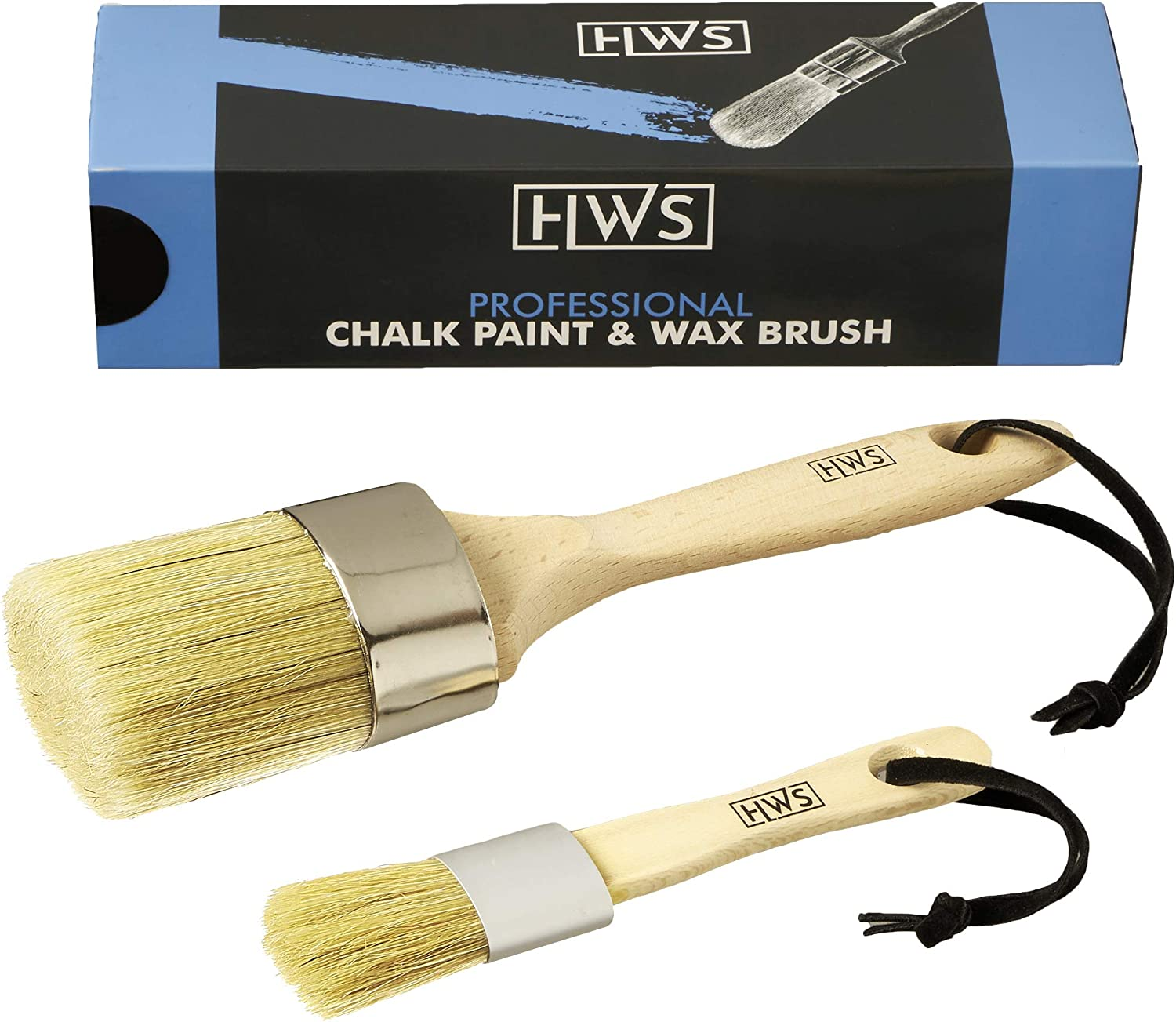 Professional Chalk Paint Brush and Wax Brush 2-Piece Set for Painting DIY Arts, Crafts, Furniture, and Hobby Projects on Wood, Sidewalks, Stencils or Custom Home Decor, Reusable