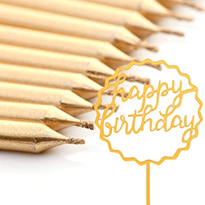 MisCSellers Gold Birthday Candles Long Candle Happy Birthday Cake Topper 12 Candles 1 Topper for Cakes: Home & Kitchen