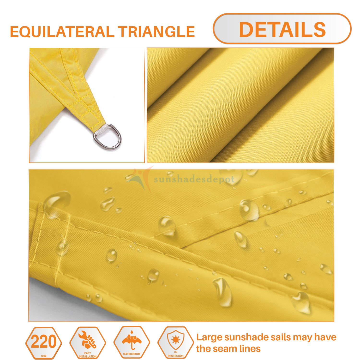 Sunshades Depot 20 x20 x20 Equilateral Triangle Waterproof Knitted Shade Sail Curved Edge Yellow 220 GSM UV Block Shade Fabric Pergola Carport Awning Canopy Replacement Awning