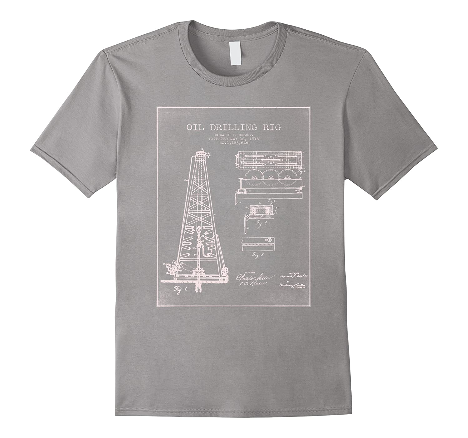1916 Oil Drilling Rig Patent Graphic T-Shirt-T-Shirt
