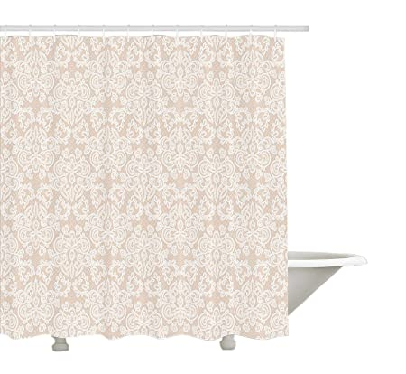 Cream Shower Curtain By Yeuss Wedding Inspired Symmetrical Design White Lace Style Background Pattern Damask