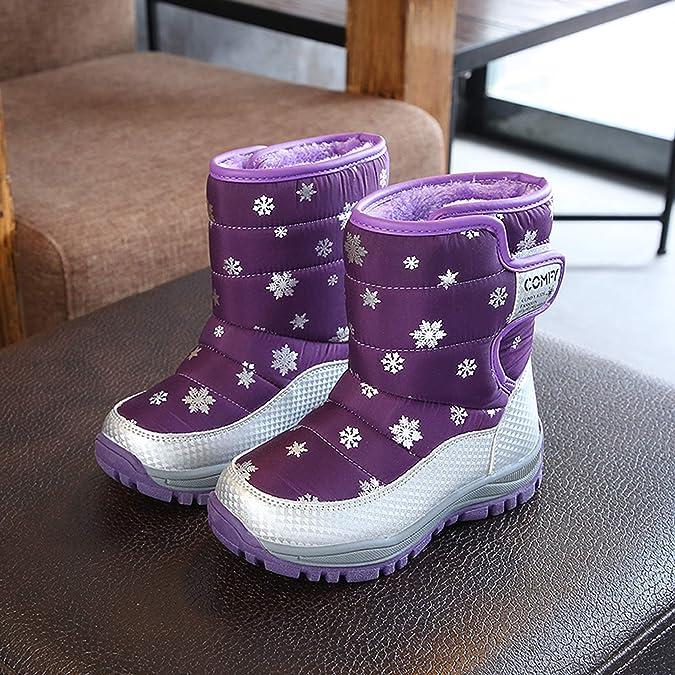 Komfyea Boys Girls Winter High Ankel Fleece Snow Boots Anti-Slip Snow Pattern Middle Boots Little Child//Kids//Teenagers