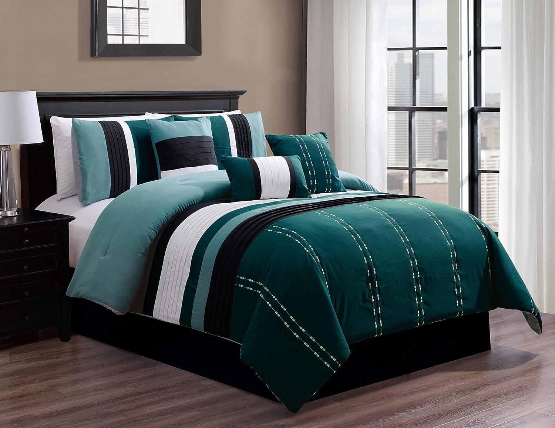 California King King Queen 7 Piece Bed in Bag Microfiber Luxury Comforter Set