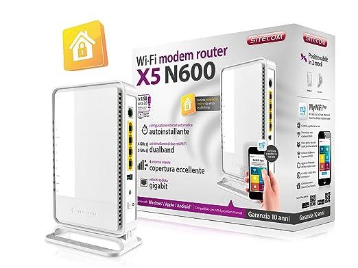103 opinioni per Sitecom N600 Wi-Fi Duallband Gigabit Modem/Router X5, USB, Sitecom Cloud