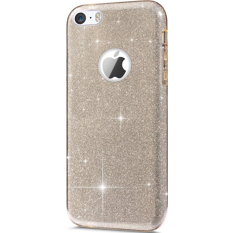SainCat kompatibel mit iPhone 5//5S//SE H/ülle Silikon Glitzer Bling Weicher TPU Abdeckung Glitzer Papier PC Innere Schicht Sch/ützh/ülle Sto/ßfest 3 in 1 Handyh/ülle Bumper Case-Gold
