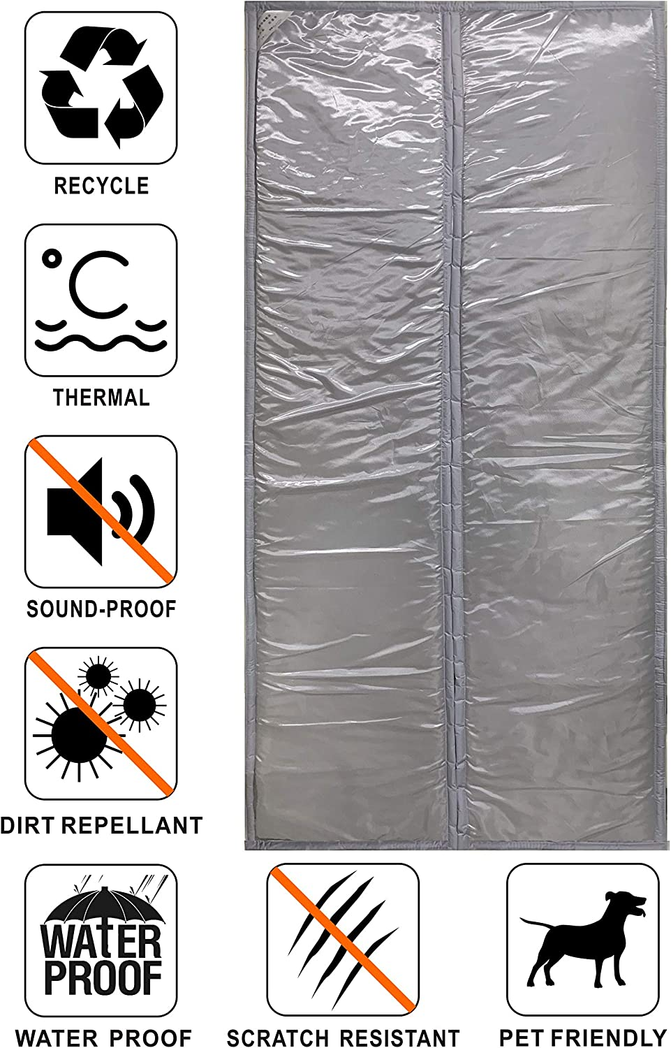 Liveinu Magnetic Thermal Insulated Door Curtain Storm Wind Fleece Insulation Curtian Magnetic Screen Door with Thermal Weatherproof Waterproof Anti Energy Loss Reduce Noise 50x78 Inch Grey