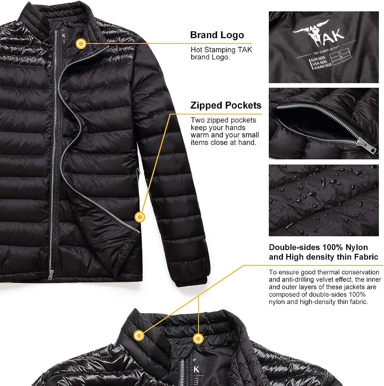 Coolred-Men Fall /& Winter Packable Zipper Stand Collar Ultra Light Weight Down Jacket