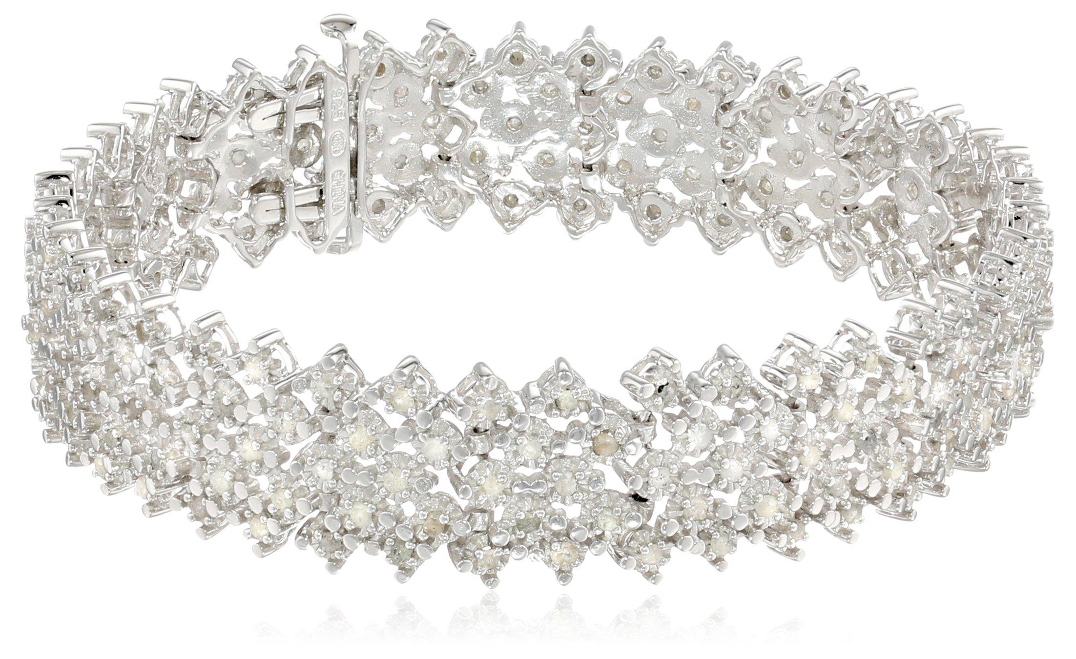 Sterling Silver 3 cttw Rose Cut Diamond Bracelet (3 Cttw, J Color, I3 Promo Clarity), 7.25''