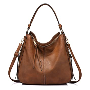 3286b41123d630 Handtaschen Damen Lederimitat Umhängetasche Designer Taschen Hobo Taschen  groß Mit Quasten Braun