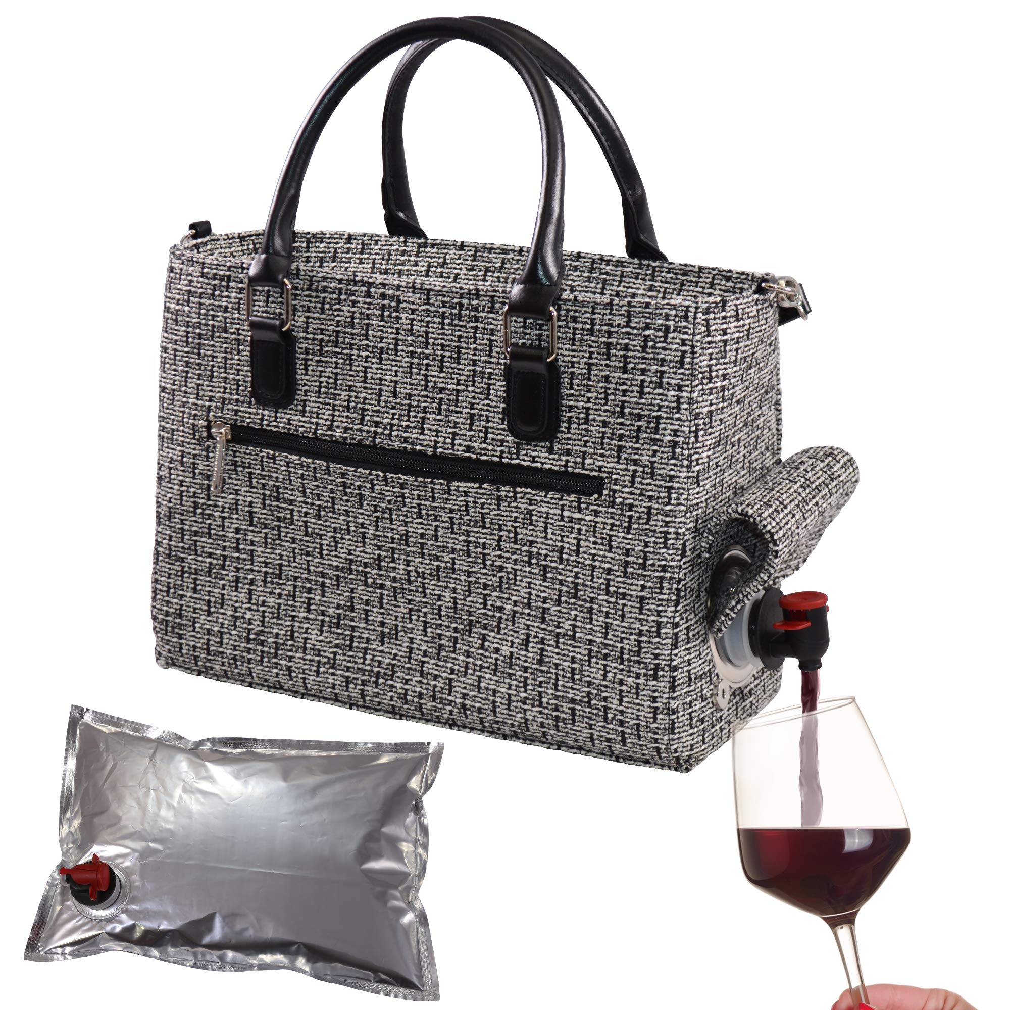 Primeware Insulated Drink Purse w/ 3L Bladder Bag | Thermal Hot and Cold Storage | Portable Drinking Dispenser for Wine, Cocktails, Beer, Alcohol | PU Leather Finish (Black Tweed) by Primeware (Image #1)
