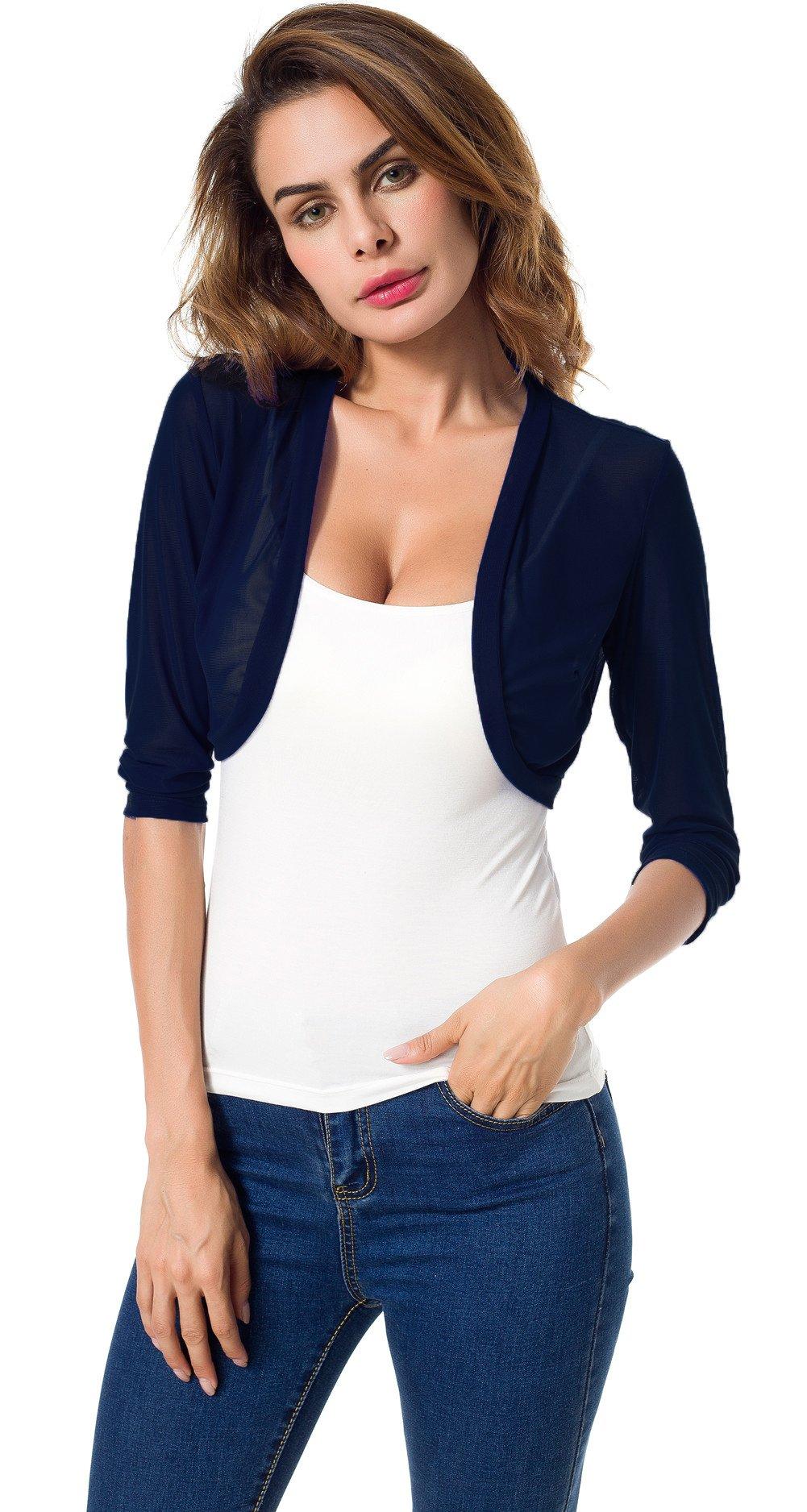 Tandisk Women's 3/4 Sleeve Bolero Sheer Chiffon Shrug Cardigan Navyblue L