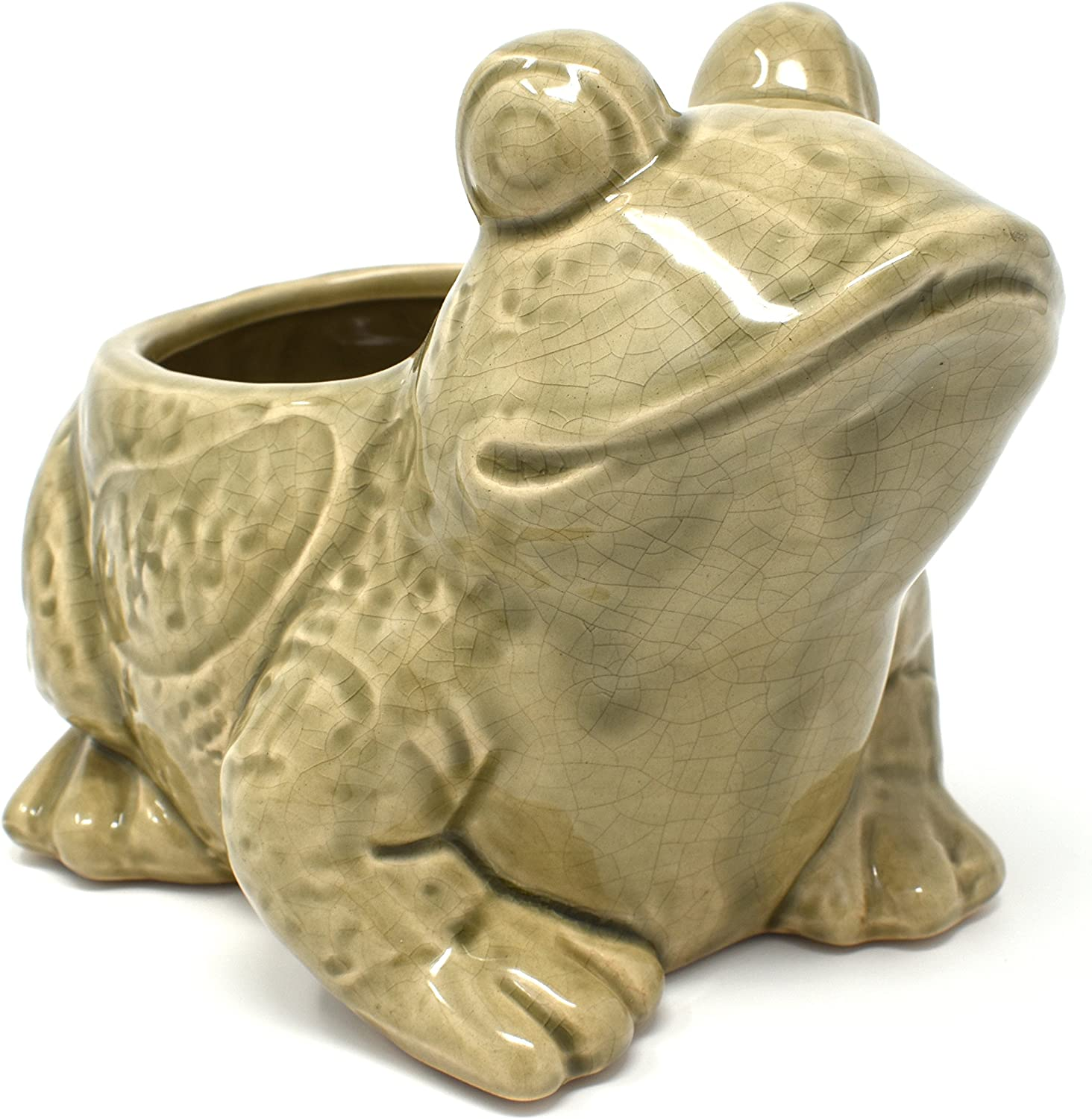 Broad Sierra-Frog Planter Pot-Great for Succulents and Small Plants-Indoor Outdoor Mocha