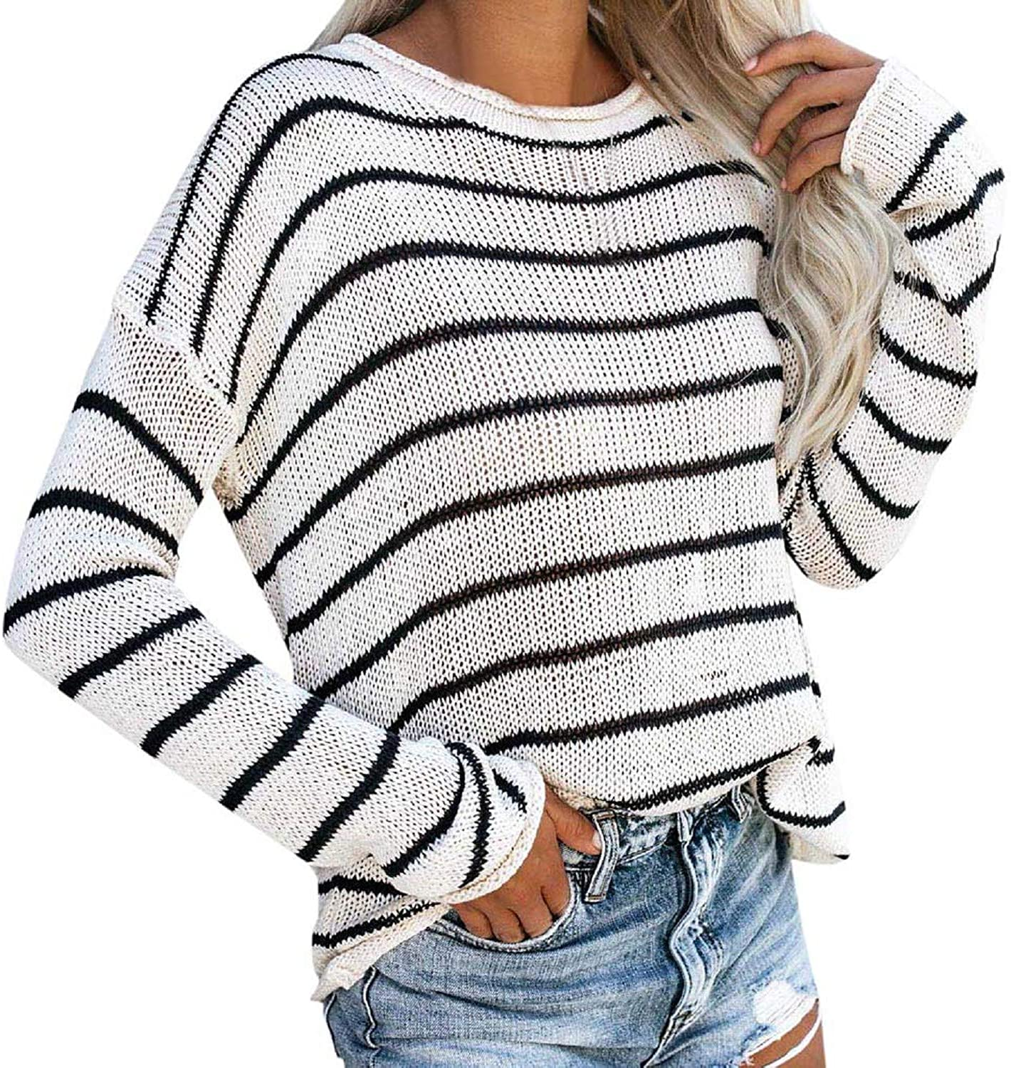 Women Black and White Striped Sweater,Tsmile Knitted Long Sleeve Crew Neck Blouse Autumn Hollow Out Pullover Tops