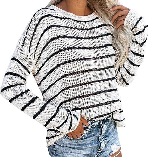 Sweater Women For Winter Autumn Split Long Sleeve Jumper Striped Knitted Regular