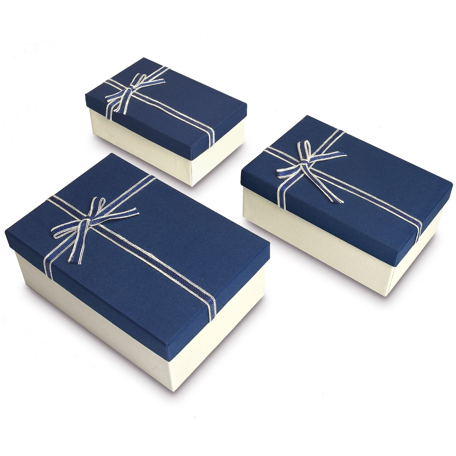 Nesting Gift Boxes, A Set of 3, Blue Color with A Bowtie