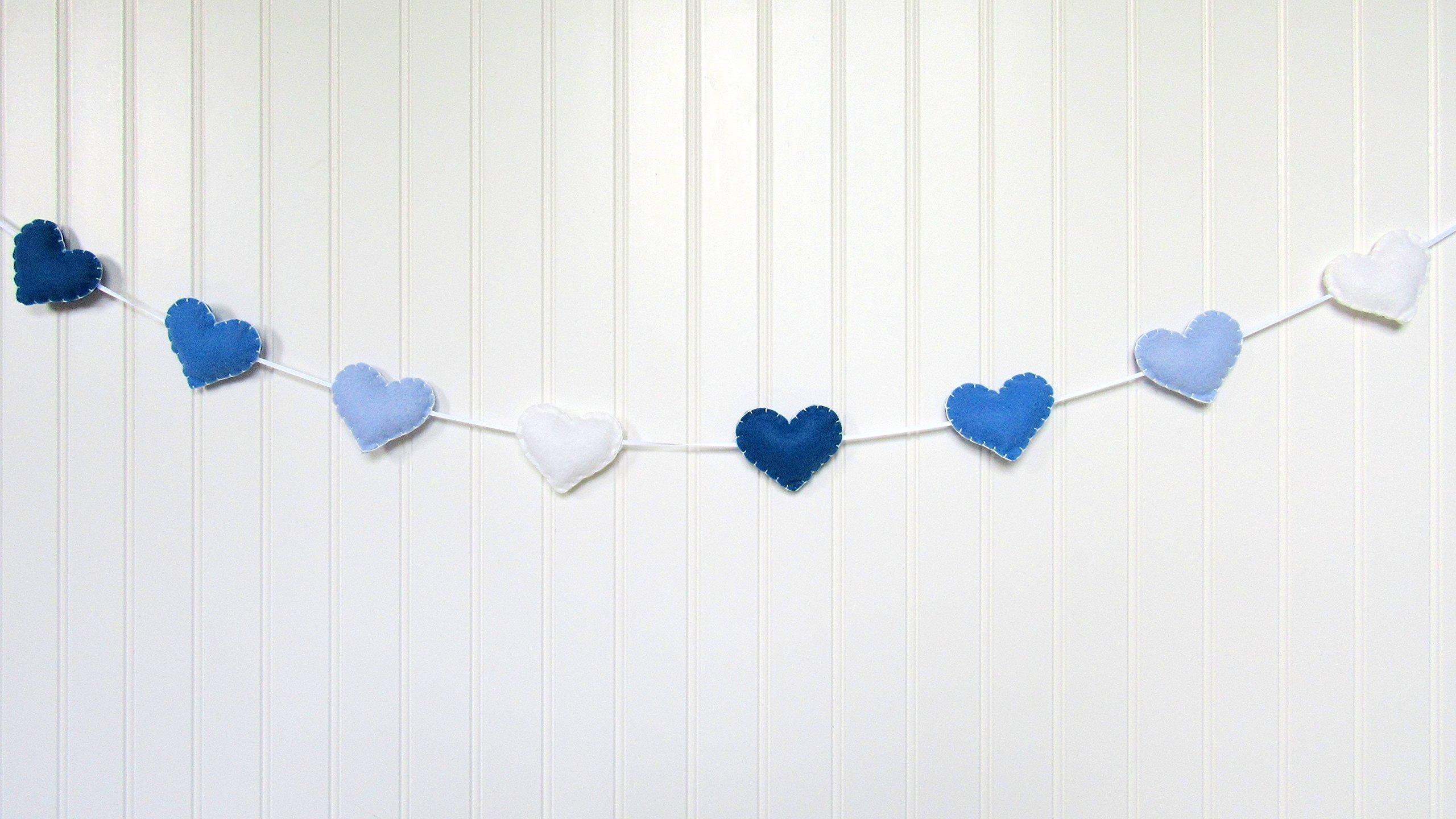 Heart banner / garland / bunting - blue - Nursery decoration