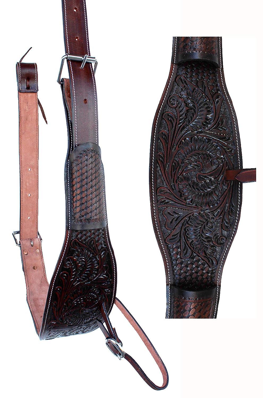 "Showman 32/""x31/"" BLACK Felt Saddle Pad with PINK Fringe and Tooled Wear Leathers!"