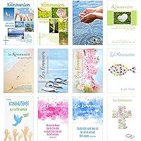 Set 12 Premium Kommunionskarten mit Umschlag (Doppelkarten/Klappkarten mit Briefumschlag) Karte Postkarte Kommunion