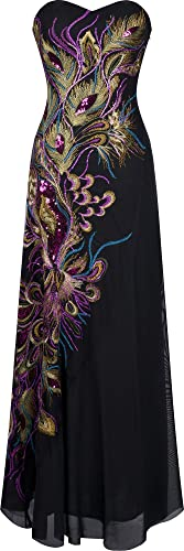 Angel-fashions Women's Embroidery Paillette Peacock Feather Full Length Black Dress