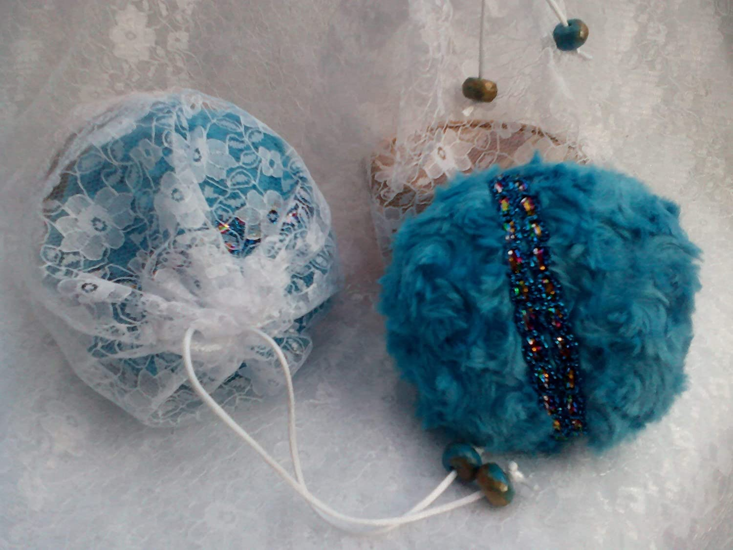 Tilly's Legacy. Dusting Powder & Turquoise Powder Puff / Pouf. Handmade 4 inch Plush Powder Puff, 100g Your Choice of Silky Body Dusting Powder, in a Lace Drawstring Bag with Bead Detail. Gift Bag. Gift for Her. Vegan Gift.