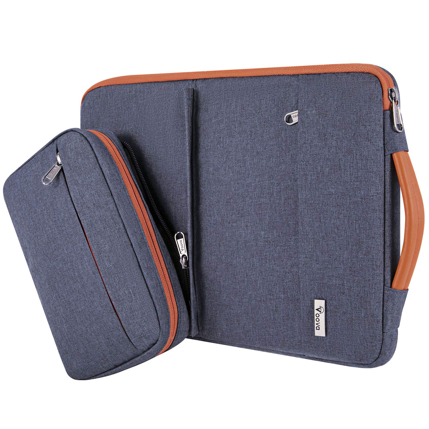 """Voova 14-15.6 Inch Laptop Sleeve Case with Detachable Accessory Pocket, Waterproof Computer Carry Bag Cover Compatible with MacBook Pro 15/16, Acer Hp Samsung Chromebook, 15"""" Surface Book, Dark Grey"""