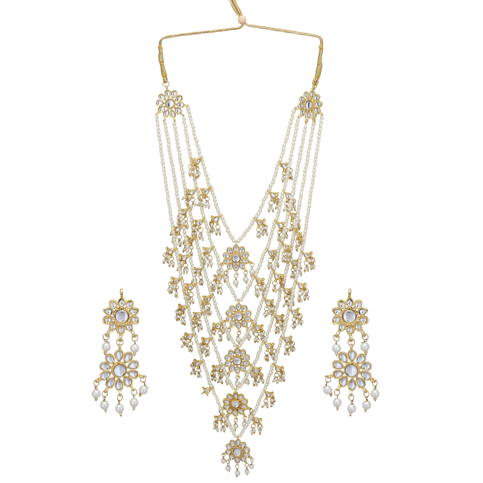 Jwellmart Fashion Ethnic Faux Pearl Multiline Kundan Brooch Indian Necklace Jewelry Set for Girls and Women (5-Line)