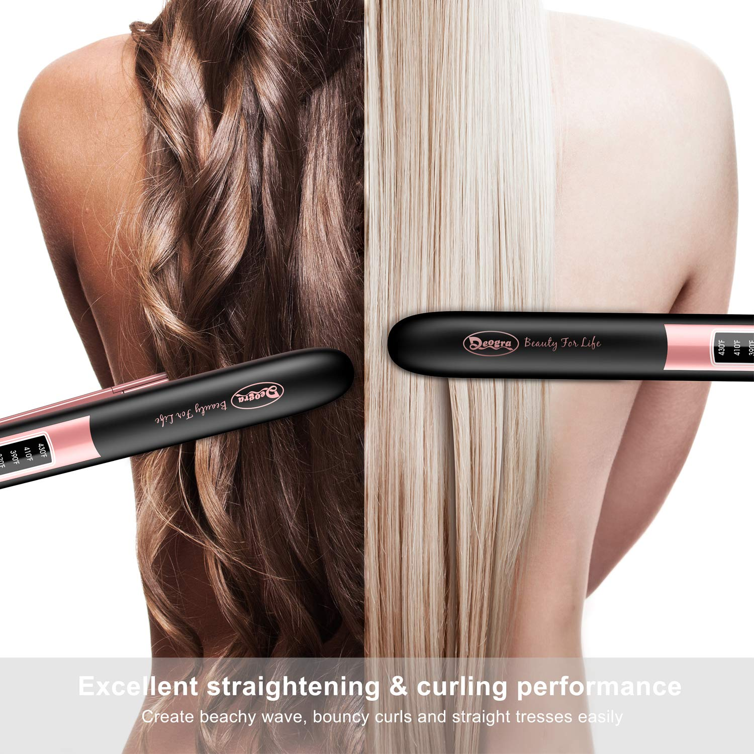 1 Inch Ionic Flat Iron - Ceramic Hair Straightener with Keratin & Argan Oil