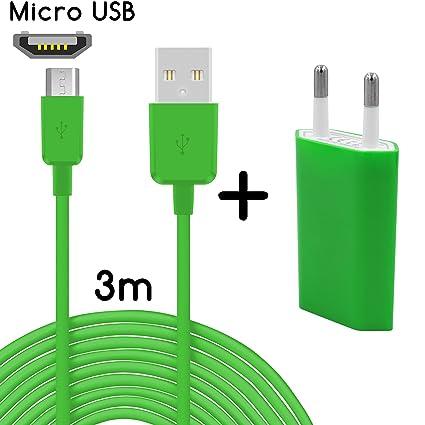 TheSmartGuard Original 2 in1 de Juego con Wiko Rainbow 4 G Cargador y Wiko Rainbow 4 G Cable de Carga (3 Metros/3 M)/Cable de Datos/Cable en Verde ...