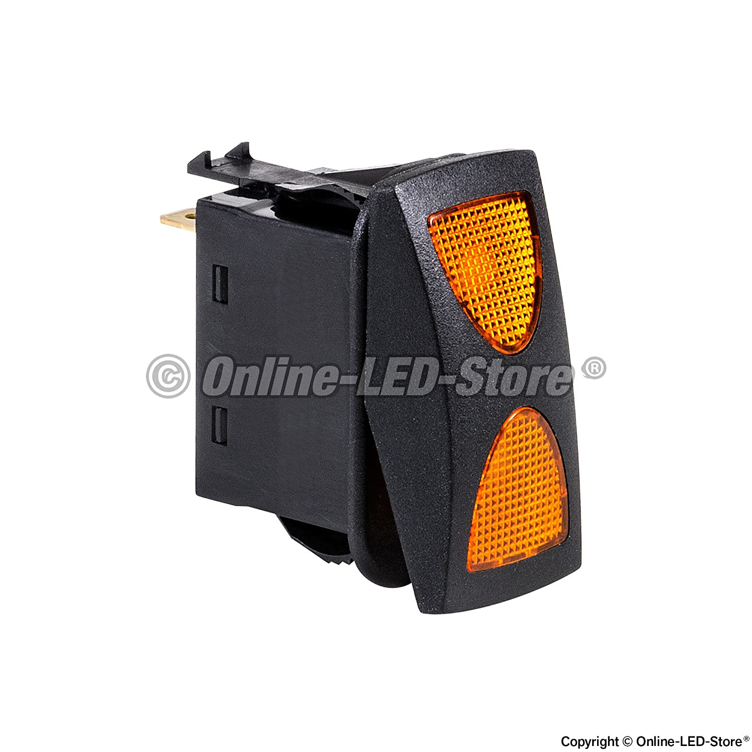 12v Dc 20a 4 Pin Led On Off Spdt Rocker Switch Powerful Flasher Amber Automotive