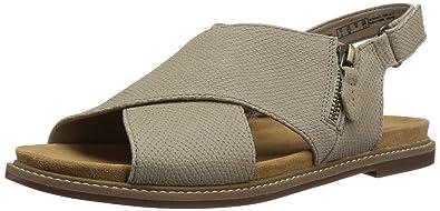 7236b6d2bf5 CLARKS Women s Corsio Calm Flat Sandal Sand Leather 5 Medium US