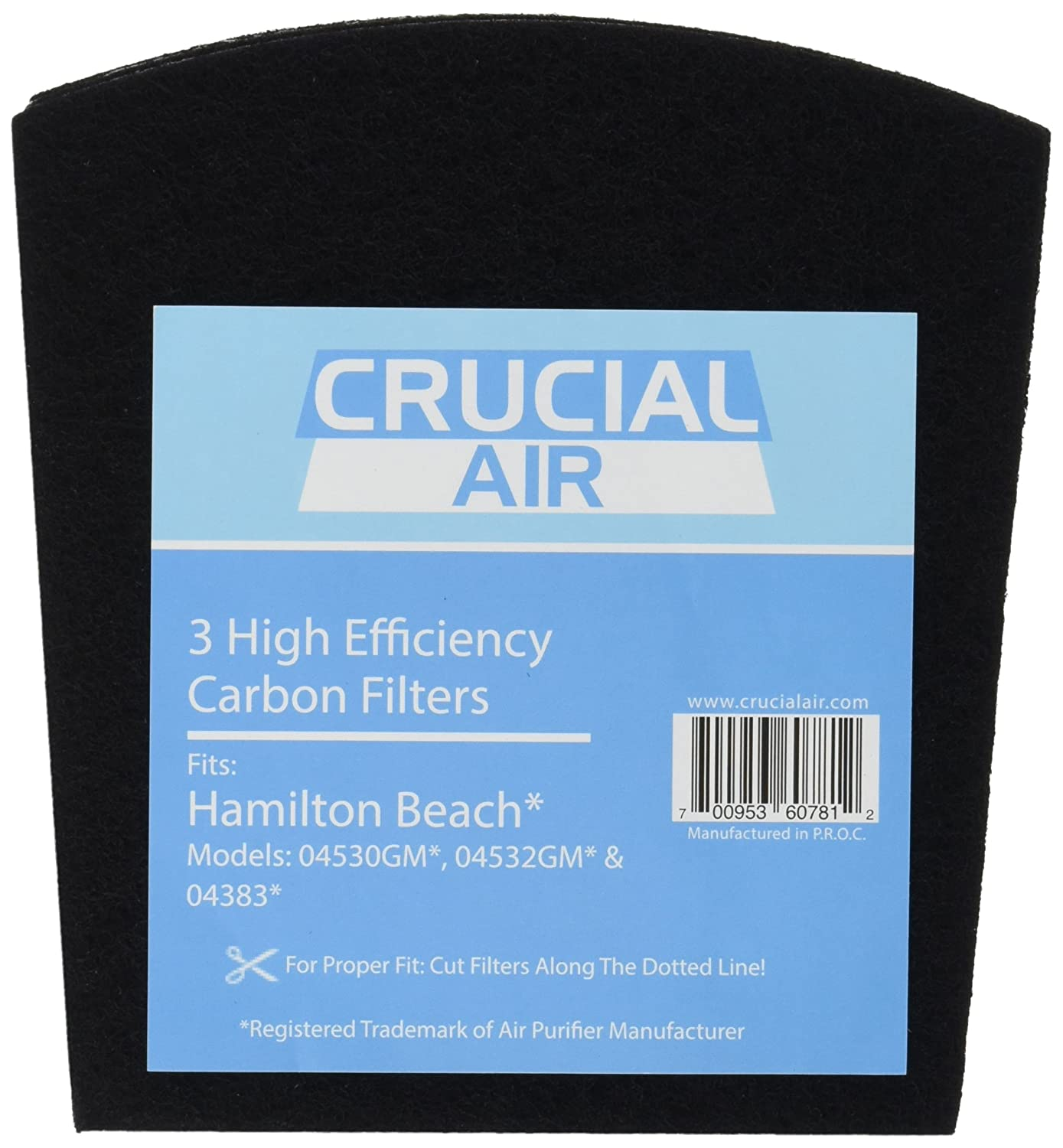 Amazon.com: 3 Crucial Air Replacement Carbon Filters for Hamilton Beach  True Air Odors 04530GM 04532GM 04383 04531GM 04530F 04532GM 04251 04271  04530 04530F ...