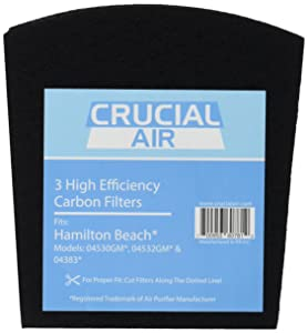 "Crucial Air Replacement Carbon Filters Compatible with Hamilton Beach True Air Filter Parts - 5.5"" x 5"" x 2"" - Part 04290 04290G 04291G 04294G 04230FS 04230G 04234G Models 04530GM, 04532GM (3 Pack)"