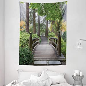 """Ambesonne Japanese Tapestry, Foggy Morning Wooden Bridge at Japanese Garden with Trees in Autumn Image, Wall Hanging for Bedroom Living Room Dorm, 60"""" X 80"""", Taupe Green"""